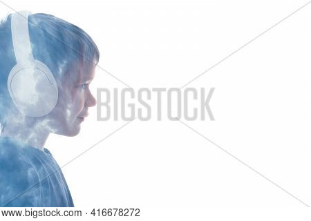 Music Lover. Silhouette Kid Portrait. Tranquility Mind. Relax Inspiration. Conceptual Art. Little Bo