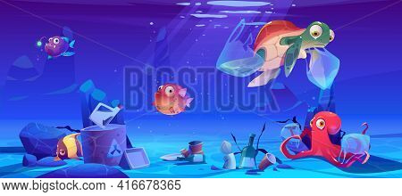 Save Ocean Cartoon Poster With Underwater Animals And Trash In Sea. Water Pollution With Plastic Eco