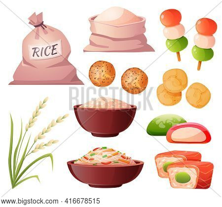 Rice In Bag And Bowl, Flour In Sack, Grain Ear And Traditional Japanese Food. Vector Cartoon Set Wit