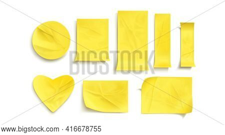 Yellow Paper Stickers, Crumpled Sticky Notes. Vector Realistic Set Of Empty Glued Labels With Curl C