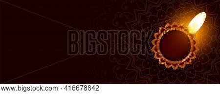 Traditional Happy Diwali Decorative Diya Banner Design
