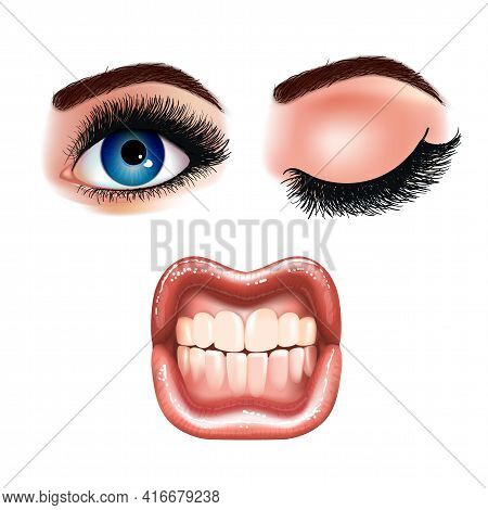 Set Of Beautiful Female Eyes With Extended Eyelashes And Shining Mouth With Glossy Lips. Grinning Te