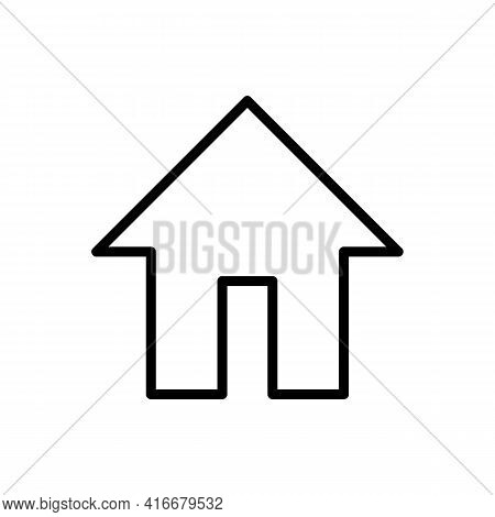 Home Or House Page Thin Line Icon In Black. Return To Home Page. Trendy Flat Style Isolated Symbol,