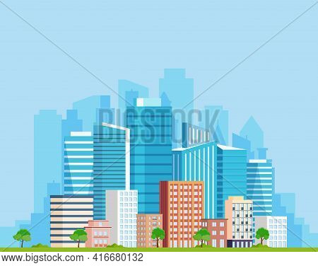 Landscape With Buildings. City Concept And Suburban Life. City Street, Large Modern Buildings, Skysc