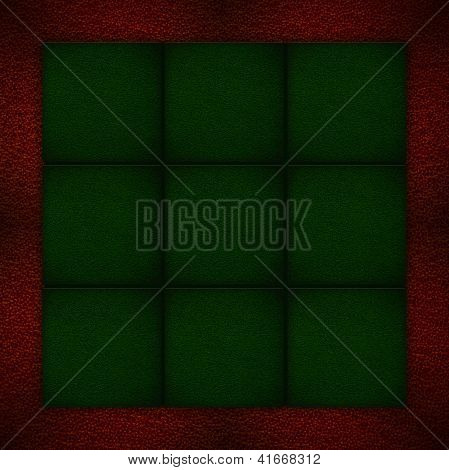 Green Background On Red Leather Texture