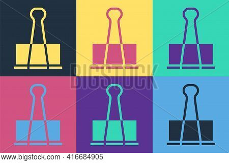 Pop Art Binder Clip Icon Isolated On Color Background. Paper Clip. Vector Illustration