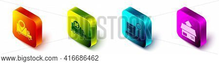 Set Isometric Delivery Tracking, Delivery Cargo Truck Vehicle, Scale With Cardboard Box And Carton C