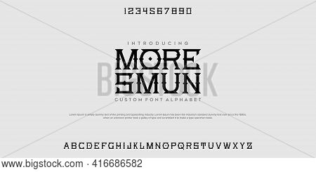 Elegant Font Letter Alphabet Set. Classic Black Lettering Typographic Font. Uppercase With Numbers.