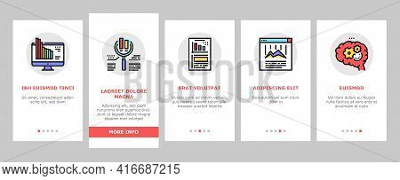 Analyze Infographic Onboarding Mobile App Page Screen Vector. Analyze And Research Market Diagram, B