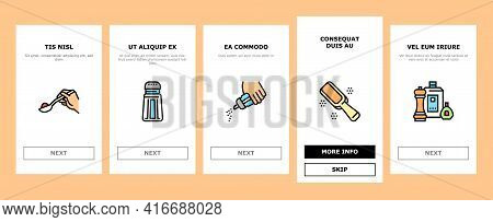 Condiment Herb Onboarding Mobile App Page Screen Vector. Salt And Pepper For Flavoring Meal In Kitch