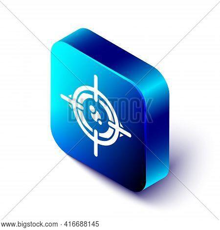 Isometric Eye Scan Icon Isolated On White Background. Scanning Eye. Security Check Symbol. Cyber Eye