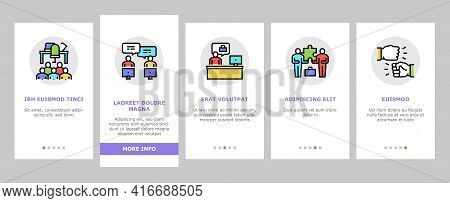 Coworking Service Onboarding Mobile App Page Screen Vector. Coworking Working Place And Conference M