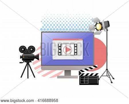 Video Or Film Production Cinematography Concept Media Player On Monitor With Professional Tools Vect