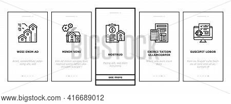 Mortgage Real Estate Onboarding Mobile App Page Screen Vector. Mortgage Agreement Contract Signing A
