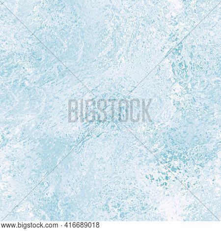 Closeup Winter Window Pane Coated Shiny Icy Frosted Patterns. Abstract Beautiful Ice Background. Sno