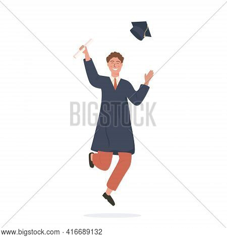 Happy Caucasian Student Jumping, Throwing A Cap And Holding Diploma. Smiling Academic Man In Bachelo