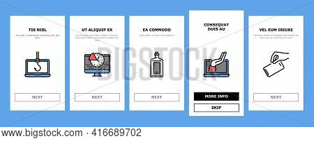 Digital Device Detox Onboarding Mobile App Page Screen Vector. Wifi And Smartphone Crossed Out Mark,