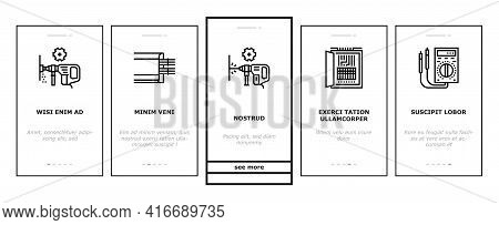 Electrical Installation Tool Onboarding Mobile App Page Screen Vector. Socket And Substation Automat