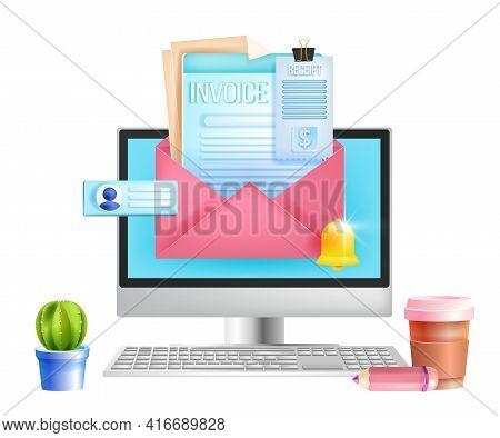 Online Invoice, Web Payment, Digital Internet Tax Receipt Vector Concept, Computer Screen, Envelope.