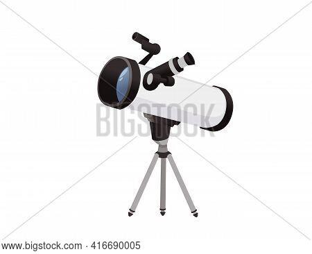 Professional Optical Device Black And White Classic Reflector Telescope On Tripod Vector Illustratio