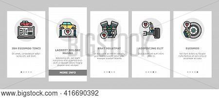 Car Service Garage Onboarding Mobile App Page Screen Vector. Car Service Repair Ball Joint And Turbi