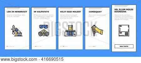 Chemistry Laboratory Onboarding Mobile App Page Screen Vector. Microscope And Burner, Heating Device