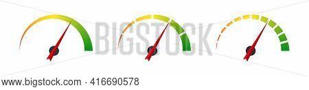 Gauge Icons. Risk Level Gauge. Level Indicator. Performance Measurement. Gauge Concept. Vector Graph
