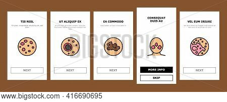 Skin Disease Symptom Onboarding Mobile App Page Screen Vector. Skin Cancer And Acne, Vitiligo And Br
