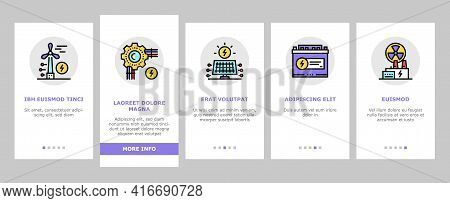 Energy Electricity And Fuel Power Onboarding Mobile App Page Screen Vector. Electric Solar Panel And