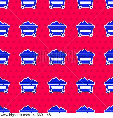 Blue Coal Mine Trolley Icon Isolated Seamless Pattern On Red Background. Factory Coal Mine Trolley.