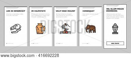 Prehistoric Period Onboarding Mobile App Page Screen Vector. Prehistoric Plant And Tree, Mammoth And