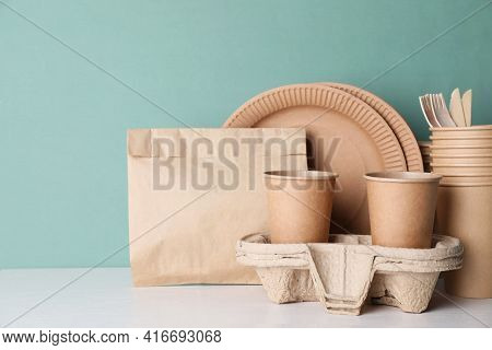 Set Of Disposable Eco Friendly Dishware On White Table