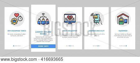 Digital Nomad Worker Onboarding Mobile App Page Screen Vector. Freelancer Nomad Remote Work And Trav