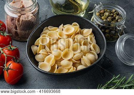 Sicilian Tuna Pasta Ingredient, On Gray Background