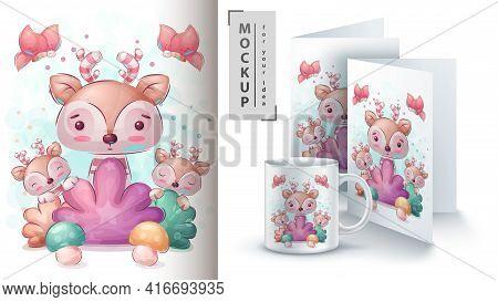 Deer In Boosh Poster And Merchandising. Vector Eps 10