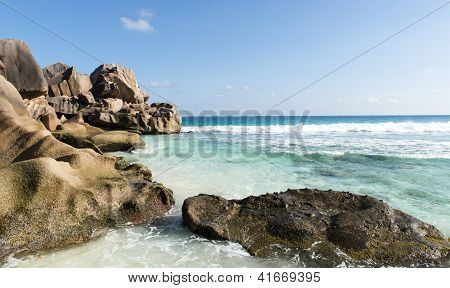 Beach of the island of La Digue