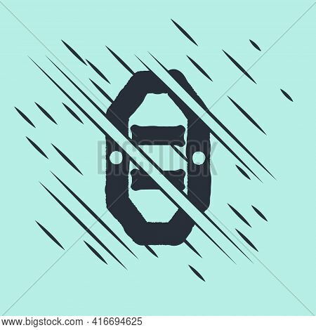 Black Rafting Boat Icon Isolated On Green Background. Inflatable Boat With Paddles. Water Sports, Ex