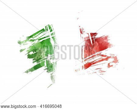 Abstract Watercolor Paint Splashes In Italy Flag Colors. Brushed Flag Of Italy.