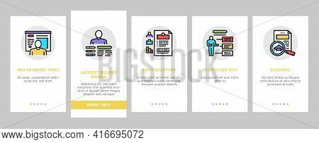 About Me Presentation Onboarding Mobile App Page Screen Vector. Positive And Negative Human Traits A