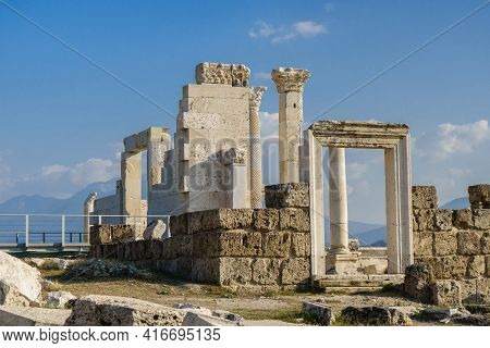Remains Of Antique Temple In Laodicea, Ancient City Near Denizli, Turkey. There Are Columns, Doorway