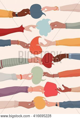 Arms And Hands Holding Speech Bubble. Agreement Or Affair Between A Group Of Colleagues Or Collabora