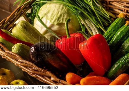 Fresh Organic Vegetables In A Basket. Farm Products. Natural Fruits And Vegetables Grown In Your Gar