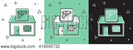 Set Hunting Shop With Rifle And Gun Weapon Icon Isolated On White And Green, Black Background. Super