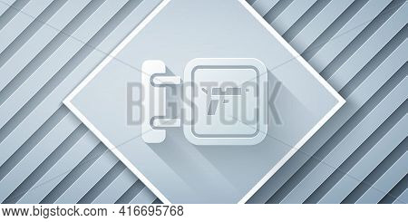 Paper Cut Hunting Shop With Rifle And Gun Weapon Icon Isolated On Grey Background. Supermarket Or St