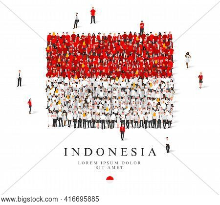 A Large Group Of People Are Standing In Red And White Robes, Symbolizing The Flag Of Indonesia. Vect