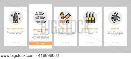 Bullet Ammunition Onboarding Mobile App Page Screen Vector. Bullet Expelling From Gun Barrel Shootin