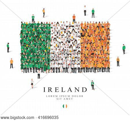A Large Group Of People Are Standing In Green, White And Orange Robes, Symbolizing The Flag Of Irela