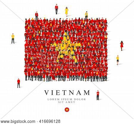 A Large Group Of People Are Standing In Red And Yellow Robes, Symbolizing The Flag Of Vietnam. Vecto