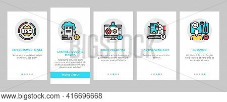 Incident Management Onboarding Mobile App Page Screen Vector. It Service Manage And Virus Report, Re