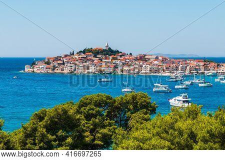 Primosten, Sibenik Knin County, Croatia. Resort Town On The Adriatic Coast.